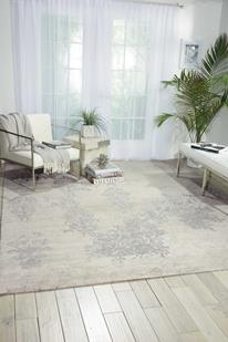 Silk Shadows-SHA14-IVSIL Room Lifestyle Hand-Knotted Area Rug detail