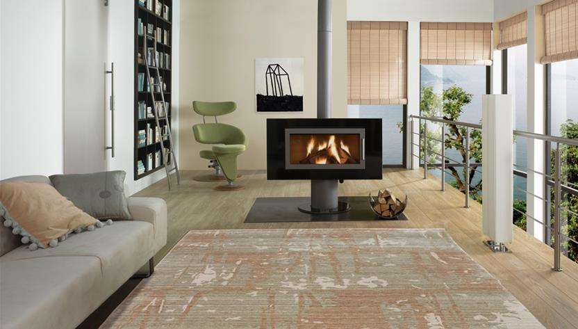 Eufora Silk-513-L.Gold Room Lifestyle Machine-Made Area Rug detail