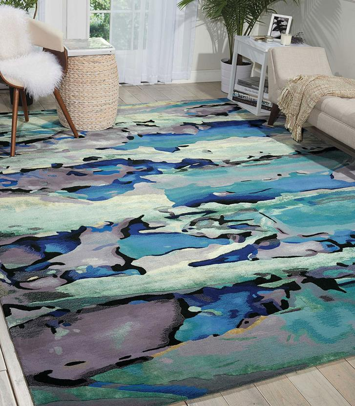 Prismatic-PRS04-SEAGL Room Lifestyle Hand-Knotted Area Rug detail