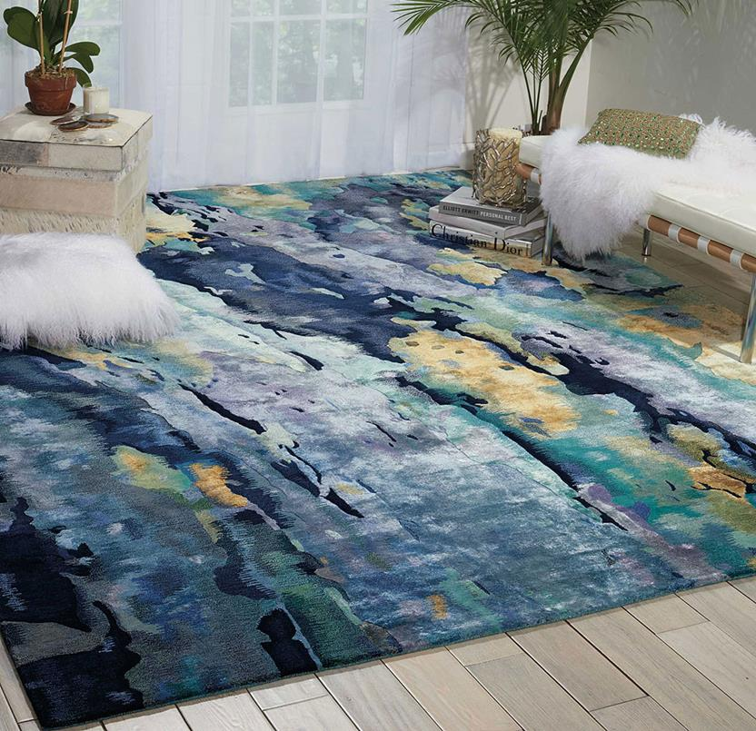 Prismatic-PRS09-SILBL Room Lifestyle Hand-Knotted Area Rug detail