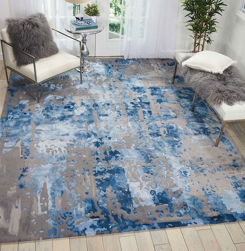 Prismatic-PRS10-BLGRY Room Lifestyle Hand-Knotted Area Rug detail