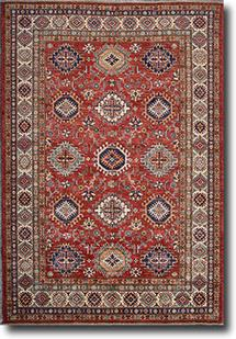 Kazak-Super-Red Ivory Hand-Knotted Area Rug