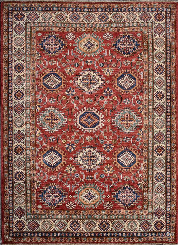 Kazak Super Red Ivory Hand Knotted