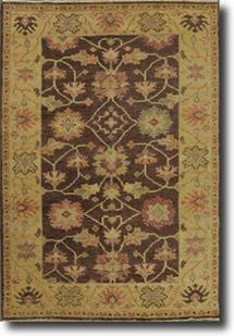Chobi-LA-30k-brown ivory grey gold Hand-Knotted Area Rug