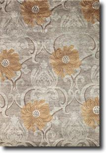 Sheer Elegance-SR02-Bloom Silver Grey/Carmel Latte Hand-Knotted Area Rug
