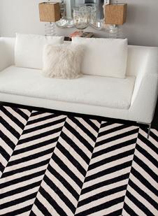 Maroc-MR52-Jet Black Snow White Room Lifestyle Area Rug detail
