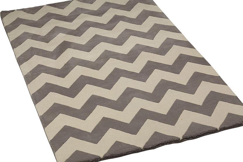 Groove Lounge-GL01-Grey White Hand-Tufted Area Rug collection texture detail
