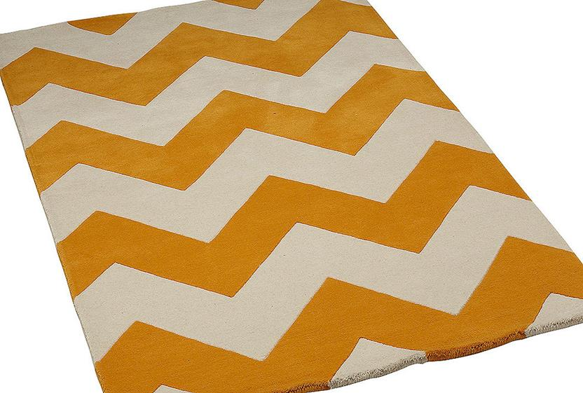 Groove Lounge-GL02-Tangerine White Hand-Tufted Area Rug collection texture detail