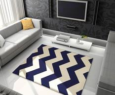 Groove Lounge-GL04-Navy White  Room Lifestyle Hand-Tufted Area Rug detail