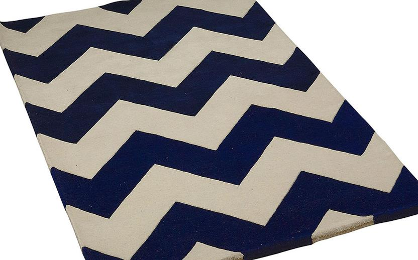 Groove Lounge-GL04-Navy White  Hand-Tufted Area Rug collection texture detail