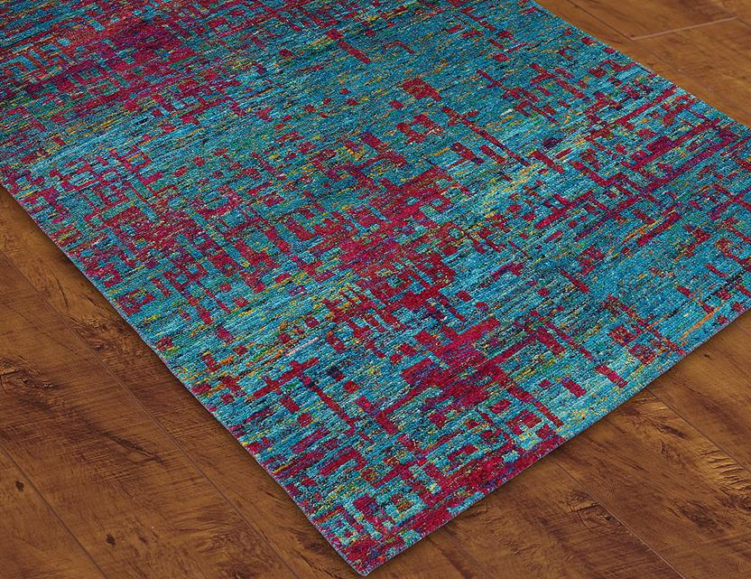 S c mysore silk scms02 blue hand knotted area rug for Alexanian area rugs
