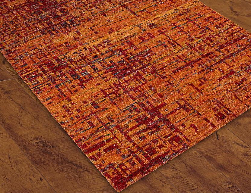 S c mysore silk scms05 orange hand knotted area rug for Alexanian area rugs