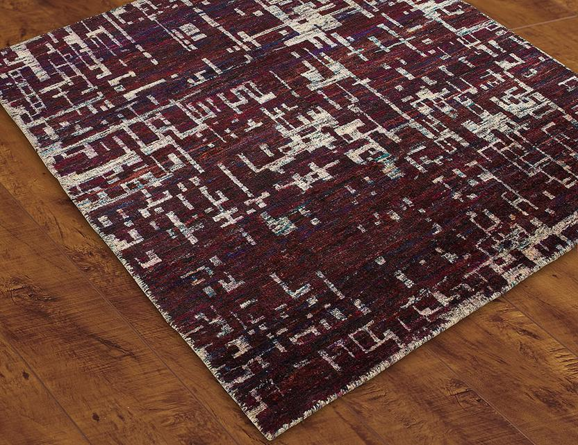 S&C Mysore Silk -SCMS06-Purple Hand-Knotted Area Rug collection texture detail