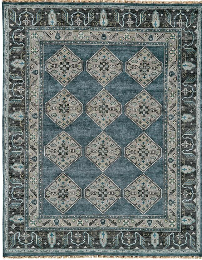 Ustad 6111f Dblgry Hand Knotted Area Rug