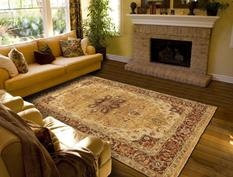 Ustad-6112F-GLDBRN Room Lifestyle Hand-Knotted Area Rug detail