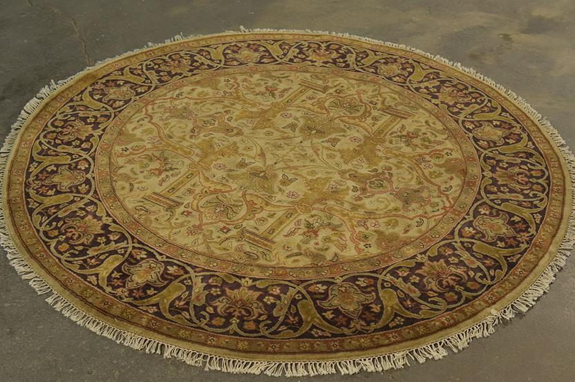 Antique MT-LA-35k-beige black ivory gold Hand-Knotted Area Rug collection texture detail