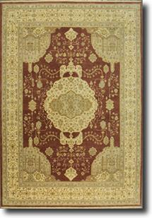 Indo-Ghazni-LM-35k-minar-burgundy ivory taupe grey Hand-Knotted Area Rug