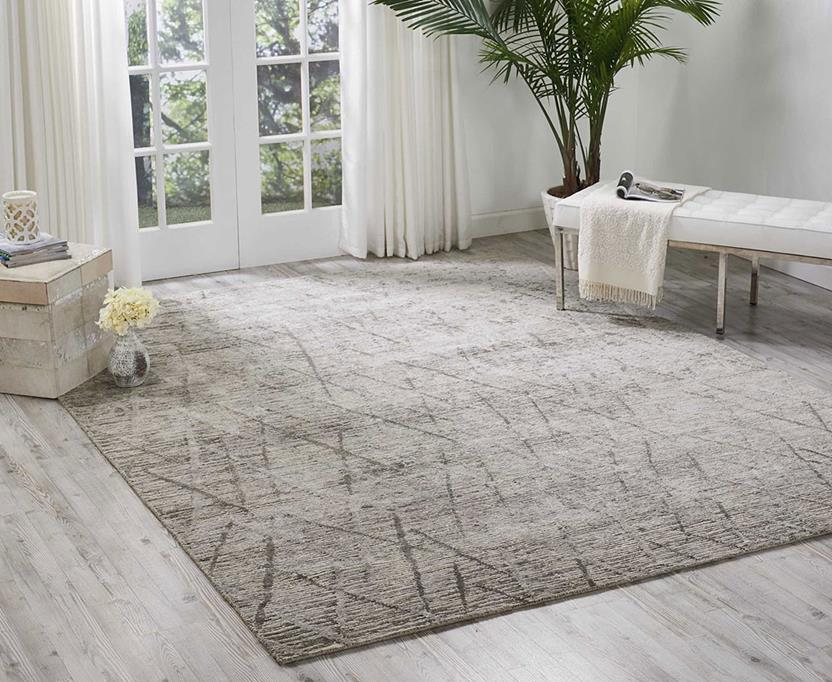 Ocean-OCP02-STONE Room Lifestyle Hand-Knotted Area Rug detail