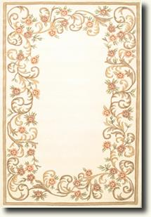 Banaras-6770-White White Hand-Tufted Area Rug