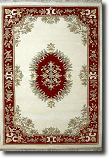 Banaras-133-White Burgundy Hand-Tufted Area Rug