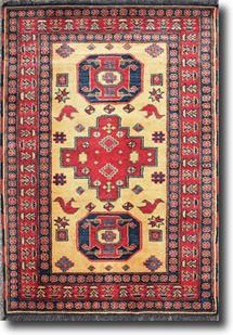 Kazak-KZT-56-Cream Red Hand-Knotted Area Rug