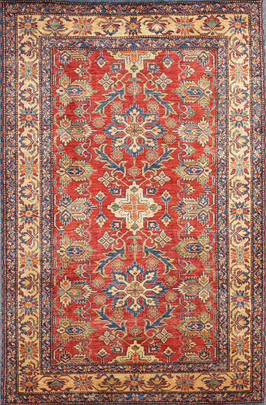 Kazak Kzt 19 Rust Gold Hand Knotted Area Rug
