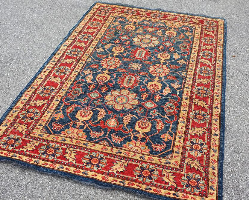 Kazak kzt 18 blue gold hand knotted area rug for Alexanian area rugs