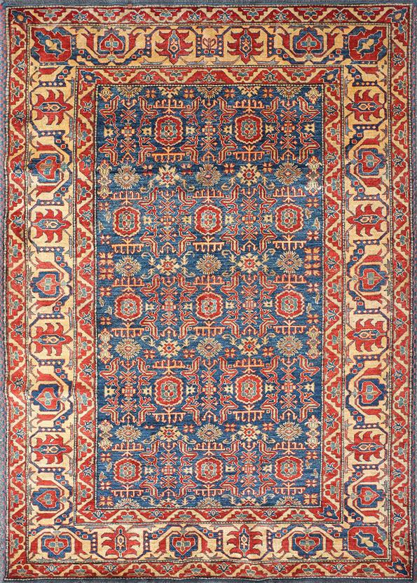 Kazak Kzt 13 Blue Gold Hand Knotted Area Rug