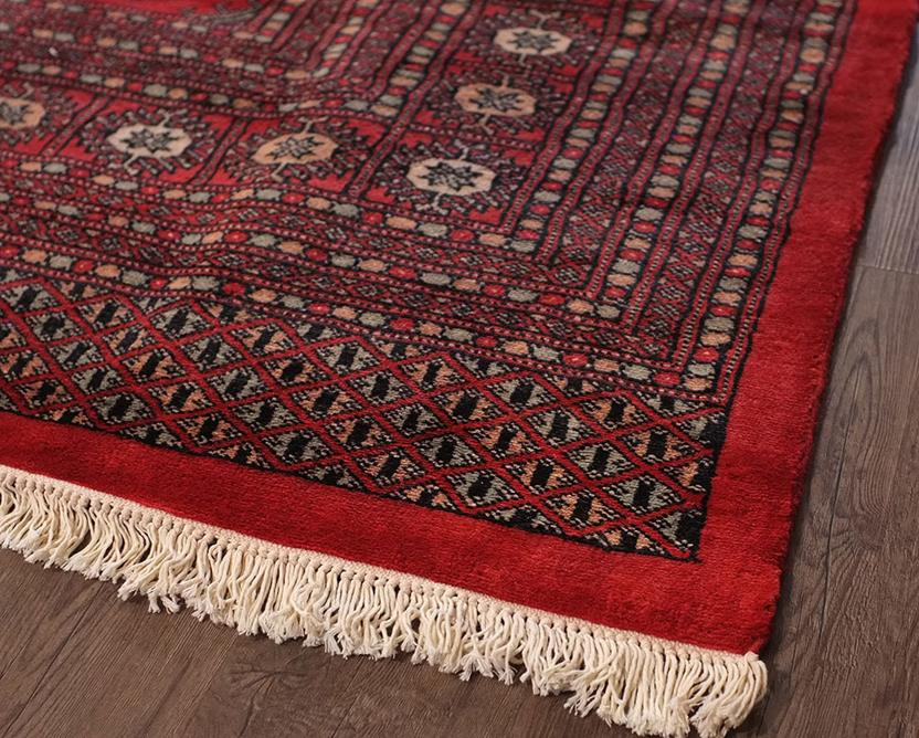 Bokhara-Mori-1027-10-Red Hand-Knotted Area Rug collection texture detail