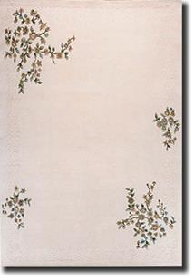 Banaras-Floral 5759-White White Hand-Tufted Area Rug