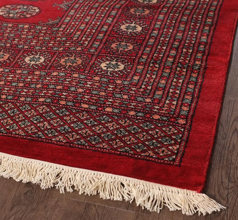 Bokhara-Mori-1032-12-Red Hand-Knotted Area Rug collection texture detail