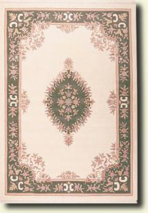 Banaras-133-White Green Hand-Tufted Area Rug