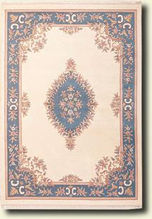 Banaras-133-White Blue Hand-Tufted Area Rug