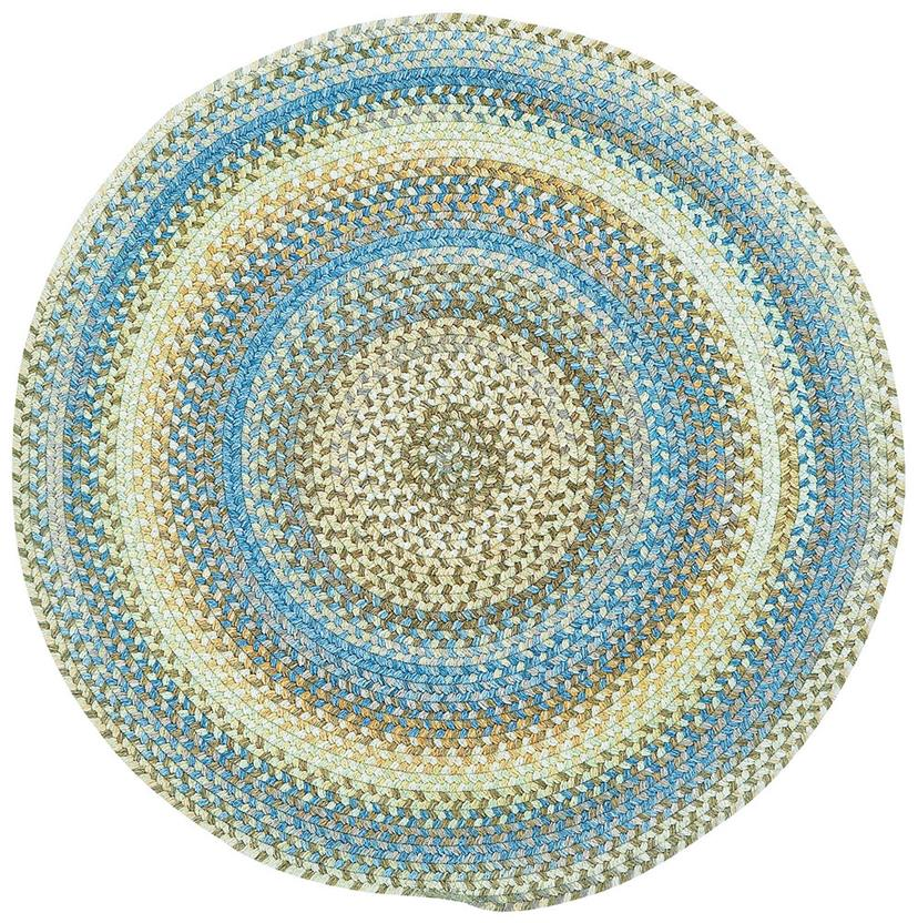American Legacy Oval-0210-410-Natural Blue Round Braided Area Rug detail
