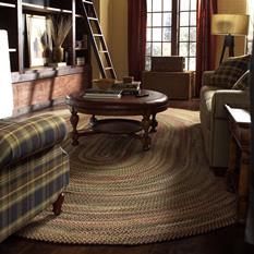 Bear Creek Oval-980-150-Wheat Room Lifestyle Braided Area Rug detail