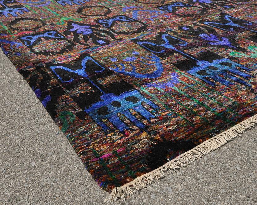 Sari silk sari 01 multi aqua hand knotted area rug for Alexanian area rugs