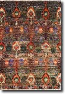 Sari Silk-Sari-06-Multi-Greens Hand-Knotted Area Rug
