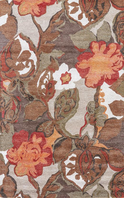 Blue-BL12-Mahogany Apricot Orange Hand-Tufted Area Rug