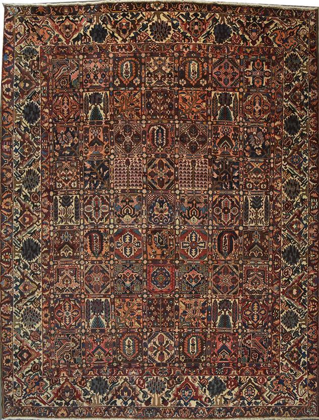 Persian Bakhtiar Panel 30k Multi Colour Hand Knotted Area Rug